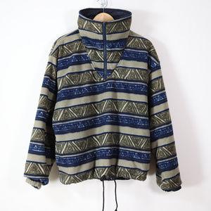 vintage 90s aztec fleece reversible jacket mens M